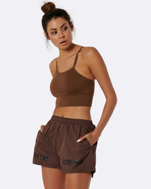 Brown High Waist Shorts