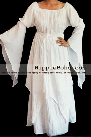 Gauze Cotton Misses & Extended Plus Size   Hippie Boho Gypsy Renaissance Celtic Medieval  Peasant Festival Costumes Style Clothing