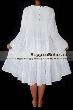 No. 473 Long Sleeve Hippie Boho Sundress for Plus Size Women