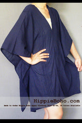 No.008 - XS-5X Hippie Boho Bohemian Gypsy Navy Kaftan Tunic Curvy Plus Size Maternity Dress Lightweight Cotton