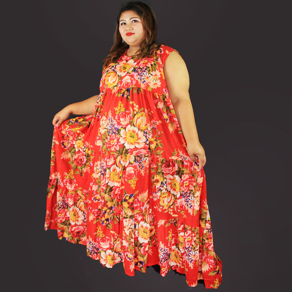 No.005- XS-7X Hippie Boho Bohemian Floral Printed Maxi Dresses Women's Plus Size Clothing