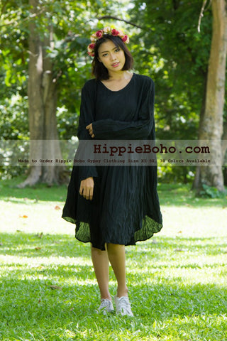 No.002  - Size XS-5X Hippie Boho Bohemian Gypsy Black Long Sleeve Tunic Plus Size Dress Lightweight Cotton