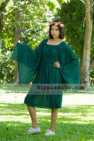 No.105  - Size XS-5X Forest Green Hippie Boho Gypsy Wide Sleeve Unique Dresses Mini Sundress Women's Plus Size Clothing