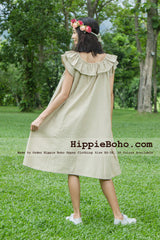 No.106  - Size XS-5X Natural Bohemian Open Shoulder Off Ruffle Tunic Mini Dress Plus Size Women's Casual Dress