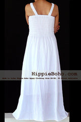 No.012 - Size XS-7X Hippie Boho Clothing Gypsy White Plus Size Strap Summer Maxi Dress, S,M,L,1X,2X,3X,4X,5X Dress