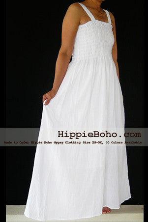 No.012 - Size XS-5X Hippie Boho Clothing Gypsy White Plus Size Strap Summer Maxi Dress, S,M,L,1X,2X,3X,4X,5X Dress