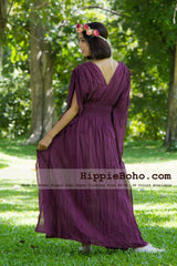 No.013  - Size XS-5X Hippie Boho Caftan Purple Maxi Dresses Women's Plus Size Clothing Bohemian Long Dress