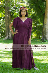 No.013  - Size XS-7X Hippie Boho Caftan Purple Maxi Dresses Women's Plus Size Clothing Bohemian Long Dress
