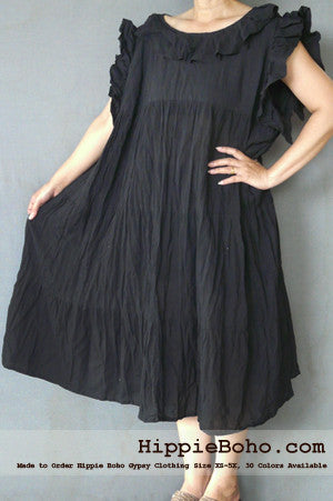 No.014 - XS-5X Regular Curvy Plus Size Black Cotton Gauze Knee Length Dress Bohemian Summer Clothing Tiered Women's Mini Dress Hippie Boho Gypsy Style