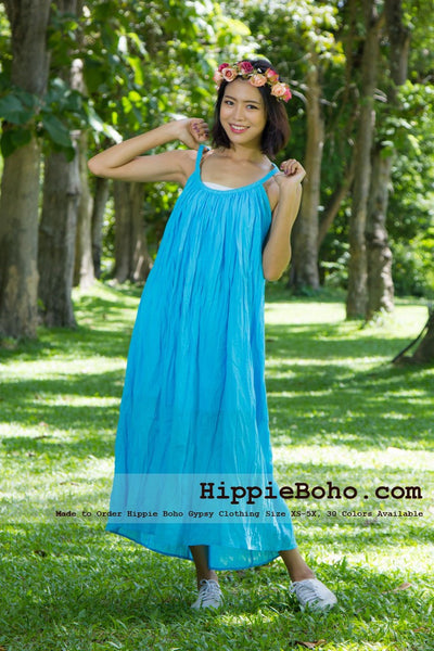 NO.015 - SIZE XS-5X HIPPIE BOHO CLOTHING GYPSY AQUA MAXI PLUS SIZE STRAP DRESS MAXI LONG DRESS