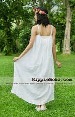 No.164 - Size XS-7X Hippie Boho Clothing Gypsy White Maxi Plus Size Strap Dress, Maxi Long White Dress