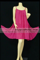No.152 - Size XS-5X Hippie Boho Clothing Gypsy Hot Pink Plus Size Strap Mini Dress