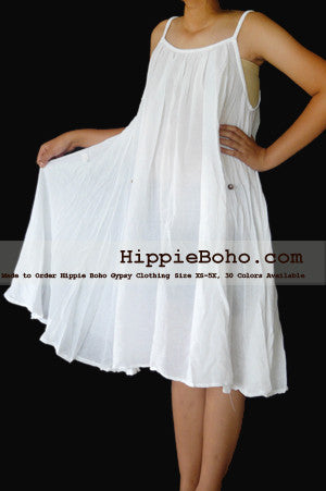 No.152 - Size XS-5X Hippie Boho Clothing Gypsy White Plus Size Strap Mini Dress