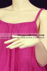 No.152 - Size XS-7X Hippie Boho Clothing Gypsy Hot Pink Plus Size Strap Mini Dress