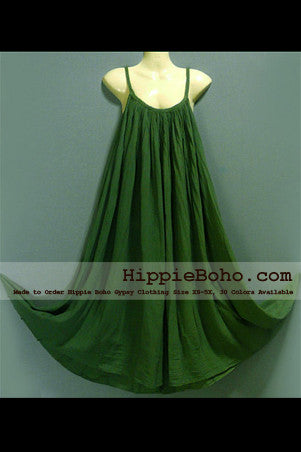 No.015 - Size XS-5X Hippie Boho Clothing Gypsy Maxi Plus Size Strap Olive Green Dress Maxi Long Dress