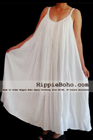 No.015 - Size XS-5X Hippie Boho Clothing Gypsy White Plus Size Strap Summer Maxi Dress, S,M,L,1X,2X,3X,4X,5X Dress