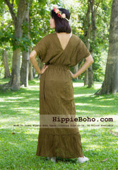 No.016  - Size XS-5X Hippie Boho Bohemian Brown Gypsy Plus Size Caftan Kimono Maxi Dresses Women's Plus Size Clothing