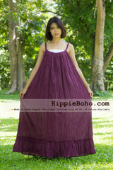 No.162 - Size XS-7X Hippie Boho Clothing Gypsy Purple Maxi Plus Size Strap Dress, Maxi Long Plum Dress