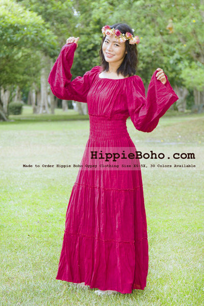 No.163 - XS-5X Crimson Red Plus Size Women's Clothing Bohemian Peasant Bell Long Sleeve Tiered Maxi Dress Boho Gypsy Hippie Style