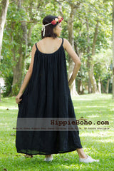 No.015 - Size XS-5X Hippie Boho Clothing Gypsy Black Maxi Plus Size Strap Dress Maxi Long Dress