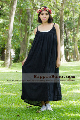 No.164- Size XS-7X Hippie Boho Clothing Gypsy Black Maxi Plus Size Strap Dress Maxi Long Dress