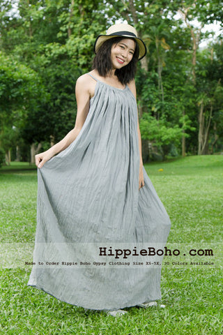 No.164 - Size XS-7X Light Gray Bohemian Strap Cotton Maxi Long Dress Handmade Women's Small & Plus Size Clothing 30 Colors Available