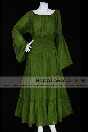 No.163 - XS-5X Olive Green Plus Size Women's Clothing Bohemian Peasant Bell Long Sleeve Tiered Maxi Dress Boho Gypsy Hippie Style