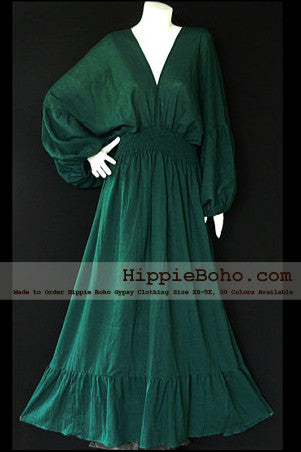 No.004  - Size XS-5X Hippie Boho Bohemian Forest Green Caftan Long Sleeve Kimono V Neck Maxi Dresses Women's Plus Size Clothing