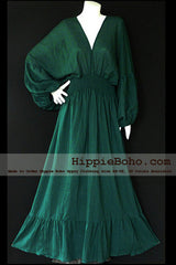 No.004  - Size XS-7X Hippie Boho Bohemian Forest Green Caftan Long Sleeve Kimono V Neck Maxi Dresses Women's Plus Size Clothing