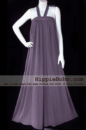 No.058 - Size XS-5X Hippie Boho Clothing Gypsy Gray Maxi Plus Size Strap Dress, Maxi Long Dress