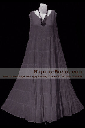 No.005  - Plus Size Gray Cotton Maxi Long Dress Bohemian Summer Clothing Tiered Full Length Women's Dress Hippie Boho Gypsy Style