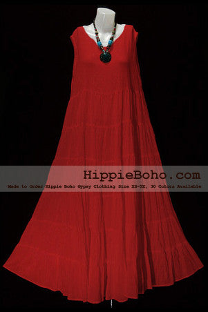 NO.005 - PLUS SIZE RED COTTON MAXI LONG DRESS BOHEMIAN SUMMER CLOTHING TIERED FULL LENGTH WOMEN'S DRESS HIPPIE BOHO GYPSY STYLE