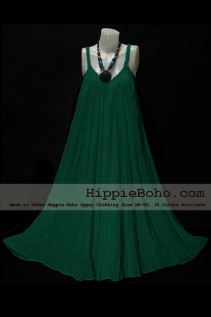 No.015 - Size XS-5X Hippie Boho Clothing Gypsy Forest Green Plus Size Strap Summer Maxi Dress, S,M,L,1X,2X,3X,4X,5X Dress