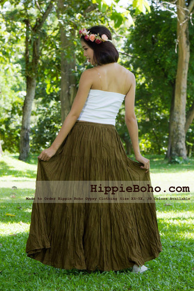 No.020  - Hippie Boho Gypsy Brown Maxi Full Long Length Tiered Layers Skirt Plus Size Women's Clothing