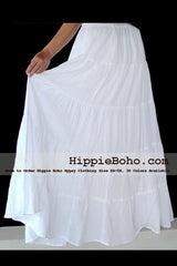 No.020 - White Peasant Bohemian Maxi Tiered Long Skirt Full Length Plus Size Women's Clothing XS,S,M,L,1X,2X,3X,4X,5X,6X and 7X