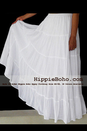 No.020 - White Peasant Bohemian Maxi Tiered Long Skirt Full Length Plus Size Women's Clothing XS,S,M,L,1X,2X,3X,4X,5X