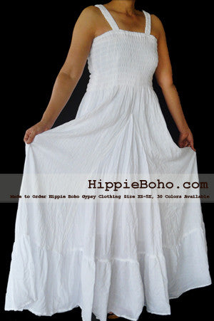 No.026 - Size XS-7X Hippie Boho Clothing Gypsy White Plus Size Strappy Summer Maxi Dress XS S,M,L,1X,2X,3X,4X,5X,6X,7X Dress