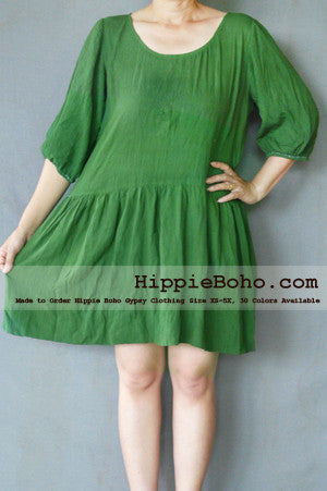 No.027  - XS-5X Hippie Boho Bohemian Gypsy Olive Peasant Tunic Plus Size Maternity Dress Lightweight Cotton