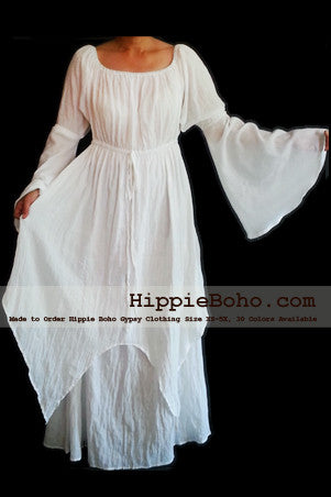 No.301  - Size XS-5X Hippie Boho Bohemian Gypsy White Long Sleeve Plus Size Sundress Pixie Full Skirt
