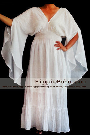 No.302  - Size XS-5X Hippie Boho Bohemian Gypsy White Long Sleeve Plus Size Sundress Pixie Funky Full Skirt