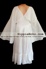 No.304 - Size XS-7X Hippie Boho Bohemian Gypsy White Long Sleeve Plus Size Sundress Pixie Funky Full Skirt