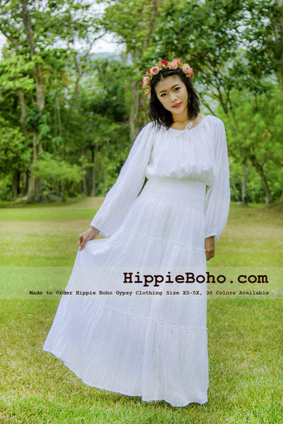 No.305  - XS-5X Hippie Boho Wedding Plus Size White Cotton Long Sleeve Maxi Dress Bohemian Summer Clothing Tiered Full Length Women's Dress Hippie Boho Gypsy Style