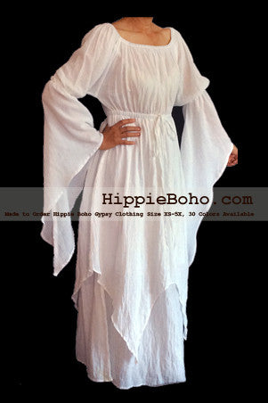 NO.306 - SIZE XS-5X HIPPIE BOHO BOHEMIAN GYPSY WHITE LONG SLEEVE PLUS SIZE SUNDRESS PIXIE FUNKY FULL SKIRT