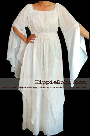 No.309  - Size XS-7X Hippie Boho Bohemian Gypsy White Long Sleeve Plus Size Sundress Pixie Funky Full Skirt