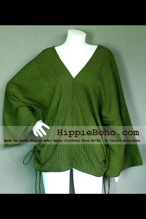 No.030  - Size XS-5X Hippie Boho Bohemian Gypsy Olive Green Long Sleeve Plus Size Kimono Caftan Sleeve Blouse Top Lightweight Cotton