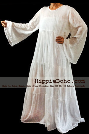 No.326  - Size XS-5X Hippie Boho Bohemian Gypsy White Long Sleeve Plus Size Sundress Tiered Peasant Full Skirt