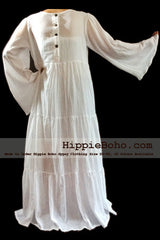 No.326  - Size XS-7X Hippie Boho Bohemian Gypsy White Long Sleeve Plus Size Sundress Tiered Peasant Full Skirt