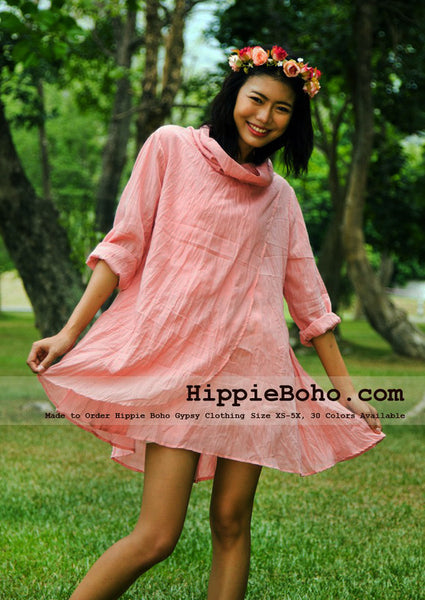 No.327  - Size XS-5X Pink Bohemian Long Sleeve Cowl Neck Tunic Plus Size Women's Casual Dress