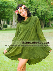 No.327  - Size XS-7X Hippie Boho Bohemian Gypsy Olive Green Long Sleeve Tunic Plus Size Dress Lightweight Cotton