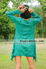 No.330  - Size XS-5X Hippie Boho Bohemian Gypsy Turquoise Long Sleeve Tunic Plus Size Dress Lightweight Cotton